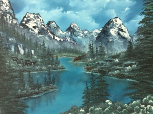 Artist's rendition of Moraine Lake